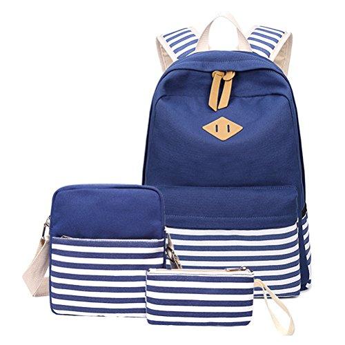 Signora Scuola Blu Zaino Set Per 3pcs Tela Bookbag Band Adolescenti Ragazze Baglaptop Donne Studentesche Tracolla 58xYwxv6q