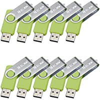 MECO10Pcs 4GB 4G USB 2.0 Flash Drive Memory Stick Fold Storage Thumb Stick Pen Swivel Design Green