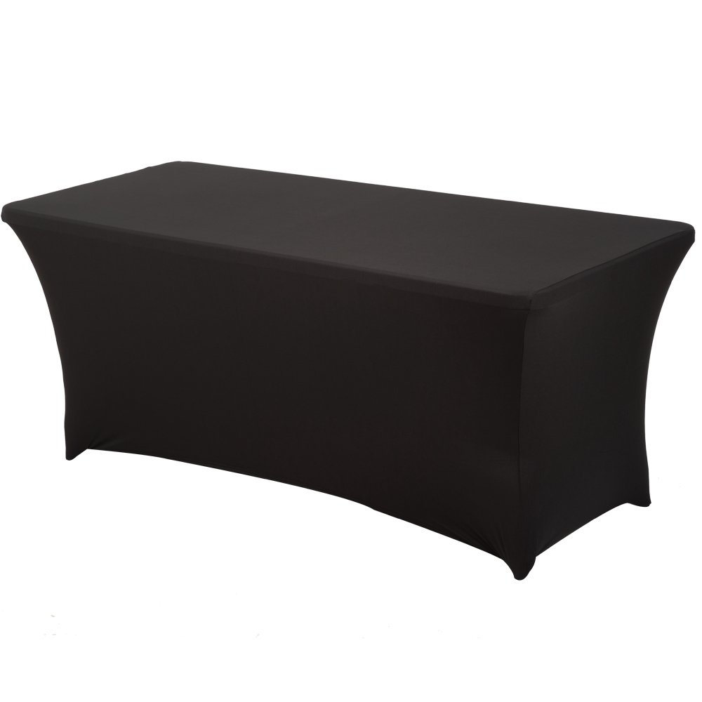 Haorui Rectangular Spandex Table Cover (6 ft. Black) by Haorui