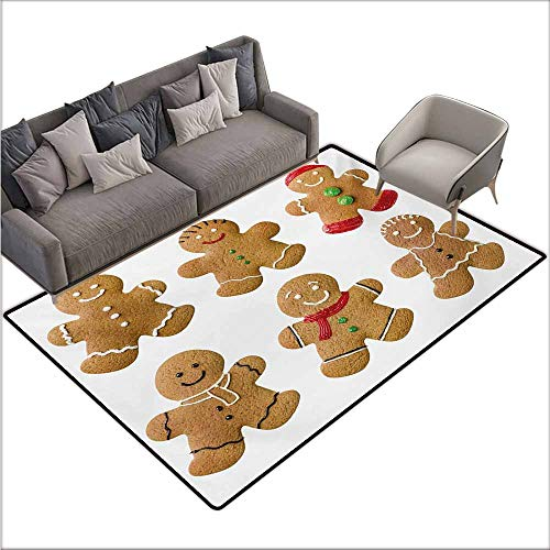 Girl Bedroom Rug Gingerbread Man Vivid Homemade Biscuits Sugary Xmas Treats Sweet Tasty Pastry Easy to Clean W78 xL106 Pale Brown Red Green ()