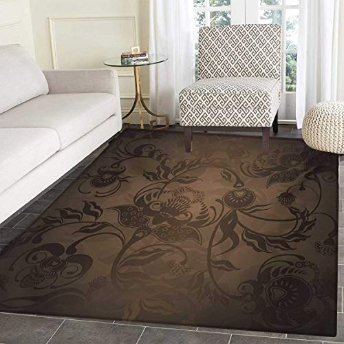 Victorian Door Mat Outside Floral Paisley Ivy Design Leaves Abstract Details Ancient Print Bathroom Mat tub Non Slip 36