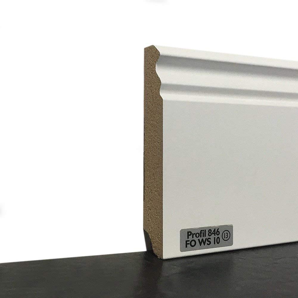 Fu/ßbodenleisten verf/ügbar in den Ma/ßen 2,40m x 96mm Fu/ßleisten mit MDF Kern in wei/ß Wandabschlussleiste mit Kabelkanal leicht zu montieren MADE IN GERMANY Sockelleisten im Weimarer-Profil