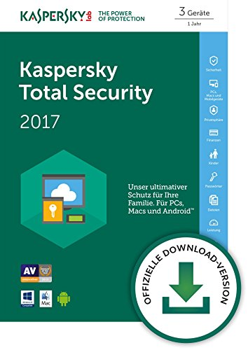 Kaspersky Total Security Multi-Device 2017 für bis zu 3 Geräte [Download]