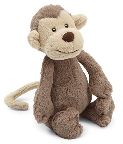 Jellycat Bashful Monkey Stuffed Animal, Small, 7 inches - Monkey Stuffed Toy
