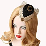 Bodermincer Sexy Mesh Gauze Small Top Hat Headdress Ribbon Bow Vintage Aristocratic Ladies Hair Clip Hairpins Black Hair Accessrioes Sexy Headwear Wedding Party