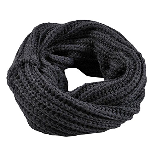 Knitted Scarf, Hot Sale New Fashion Warm Christmas Soft Lady Knitted Circle Wool Scarf Shawl Wrap Winter Warm Collar by Neartime (Dark Grey)]()