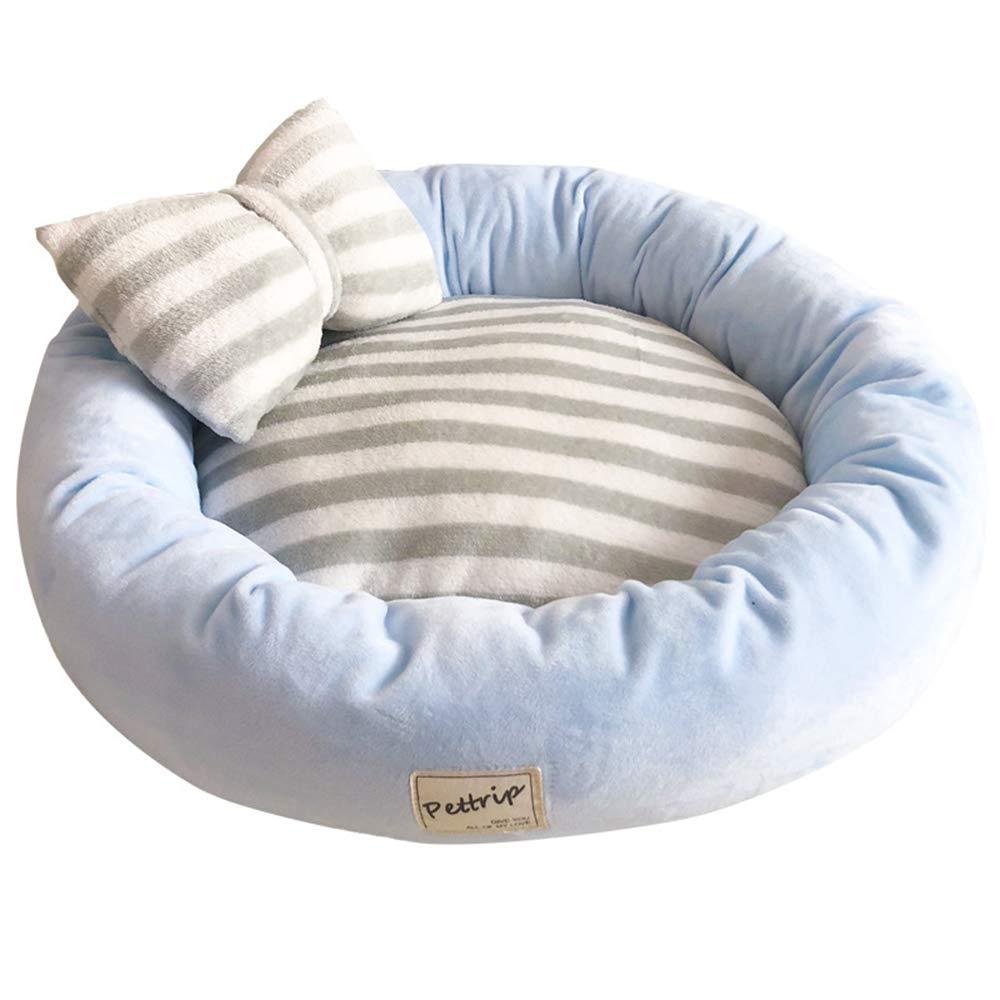 bluee Small bluee Small Round Dog Sofa Chair,Crystal Velvet Flannel Cushion Bed,Indoor Warm Soft Nest for Autumn Winter,bluee,S