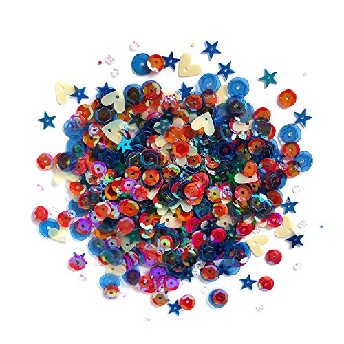 Loose Bulk Cupped Sequins for DIY Arts Crafts Projects Red White Blue Assorted Sizes 100 Grams 8000 Pieces