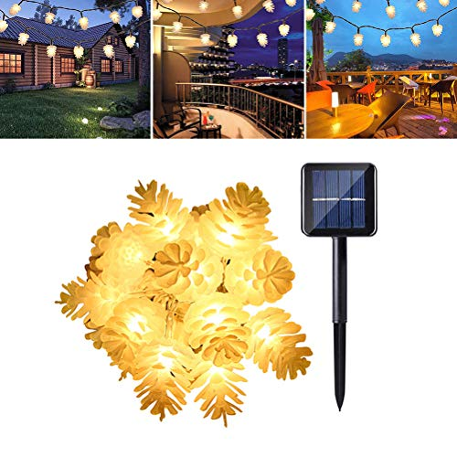 Uonlytech 6.5M 30LED Solar Pinecone String Lights Outdoor Waterproof Fairy Lights for Garden Christmas Party Decoration(Warm White)