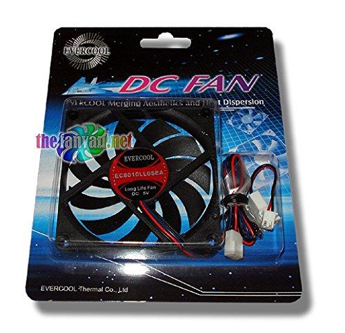 Evercool EC8010LL05EA 80mm x 10mm 5v 5 Volt 3 pin Fan + Screws & 3 to 2 Pin (7mm) Adapter