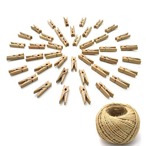 YSLF 50PCS Wood Craft Clothespins Natural Wooden Mini Clothes Pins Photo Clips Paper Peg 100 Meters Jute Twine ()