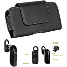 "SumacLife Jet Black Rotatable Cell Phone Holster Pouch w/ BlueTooth Headset for Alcatel Smartphones 5.5"" - 6.25in"