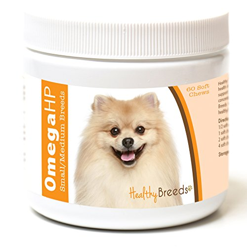 Healthy Breeds Omega HP Fish Oil Skin & Coat Supplement Soft Chews – Vet Recommended Small Breed