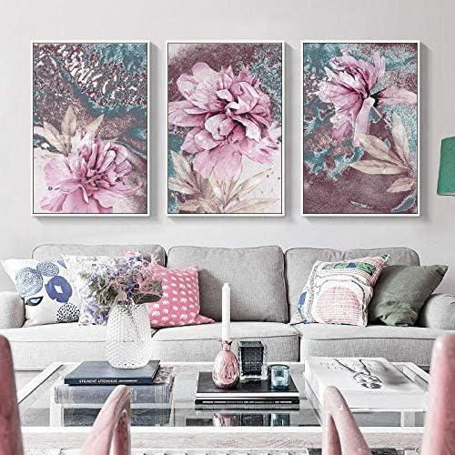 抽象絵画ポスター北欧装飾ホームウォールアート花ポスターとプリント装飾写真50×70センチ×3ピースフレームなし