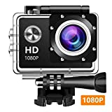 EM6000 Action Camera, Dabige 12MP 1080P 2 Inch LCD Screen, Waterproof Sports Cam 140 Degree Wide Angle Lens, 30m Sport Camera DV Camcorder with 10 Accessories Kit (Black)