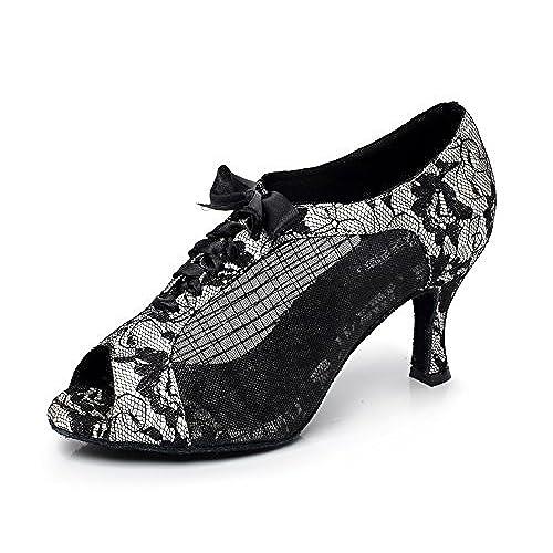 fb2bcb49 ... Zapatos De Baile De Malla De Las Mujeres De América  Salsa/Tango/Té/Samba/Moderno/Jazz Zapatos Sandalias Tacones Altos ,Silver-heeled10cm-UK3.5/EU34/Our35