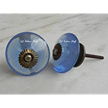 IndianShelf Handmade Set of 8 Steel Blue Wheel Glass Door Knobs Cabinet Pulls Wardrobe handles