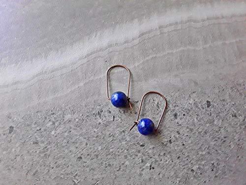 (Lapis Lazuli Modern Minimalist Hoop Earrings Copper )