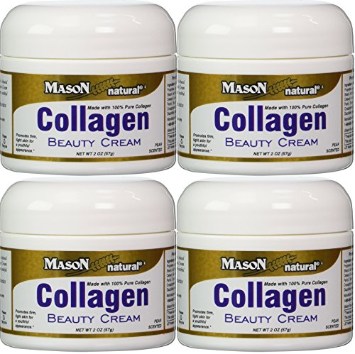Collagen Beauty Cream Made with 100% Pure Collagen Promotes Tight Skin Enhances Skin Firmness 2 OZ. Jar PACK of 4 by Mason