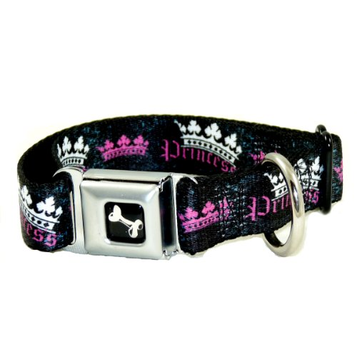 Buckle Down Pink and Black Princess Dog Collar Wide Large 1.5″ x 18-32″ W30385-WL, My Pet Supplies