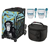 Zuca Monkey Sport Insert Bag with Zuca Frame, Matching Lunch box and 2 Coffee Mugs(Black with Non-Flashing Wheels Frame)