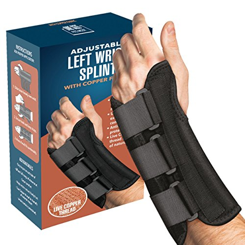 Wrist Brace - Carpal Tunnel Wrist Brace and Hand Splint Guard for Support, Tendonitis Pain, and Healing Wrist Injury Pain with Copper Healing Power - by FlexTrek (Left Hand)
