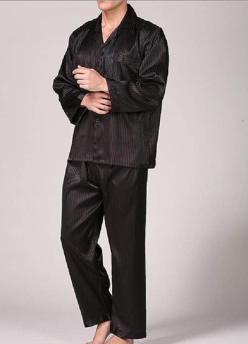 heymoney Mens Classic Satin Long Sleeve Long Pants Silk Sleepwear Loungewear Pajama Set