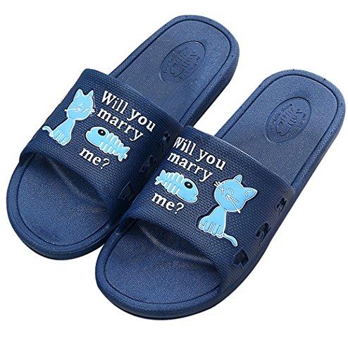 Fascigirl Summer Slippers, Unisex Slippers Anti Slip Cat Eats Fish Cartoon Bathroom Home Slippers Navy 2XL