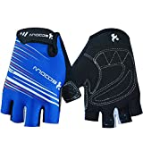 Ezyoutdoor Unisex Lycra&Silica Gel Grip Half Finger Gloves Mountain Road Bicycle Racing Crossfit Sport Fitness Exercise Gloves (Blue, S)