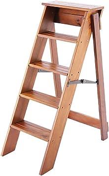 Escaleras de mano Taburete de la escalera hogar de madera maciza escalera plegable engrosamiento interior escalera de cinco pasos ático familiar multifunción pequeña escalera taburete de paso: Amazon.es: Bricolaje y herramientas
