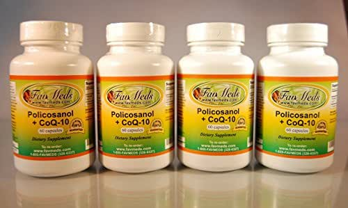 Policosanol + Coq10, Polycosanol, Cholesterol Aid, Heart Health, Made in USA - Various Sizes (4 Bottles - 240 [4x60] Capsules)