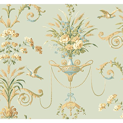 York Wallcoverings NM2903 Normandy Manor Floral Neoclassic with Birds Wallpaper, Light Aqua, Amber, Tan, Gold, Blue, Yellow/Green - Classic Acanthus Leaves Wallpaper