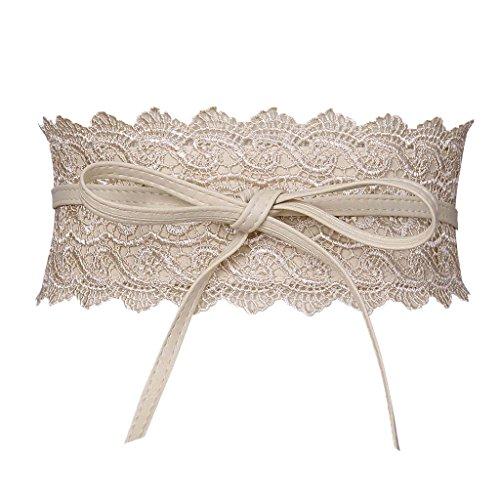 Genuine White Belt (Womens Faux Leather Wrap Around Obi Style Waist Band Belt (One Size, Off-White (Style 2)))