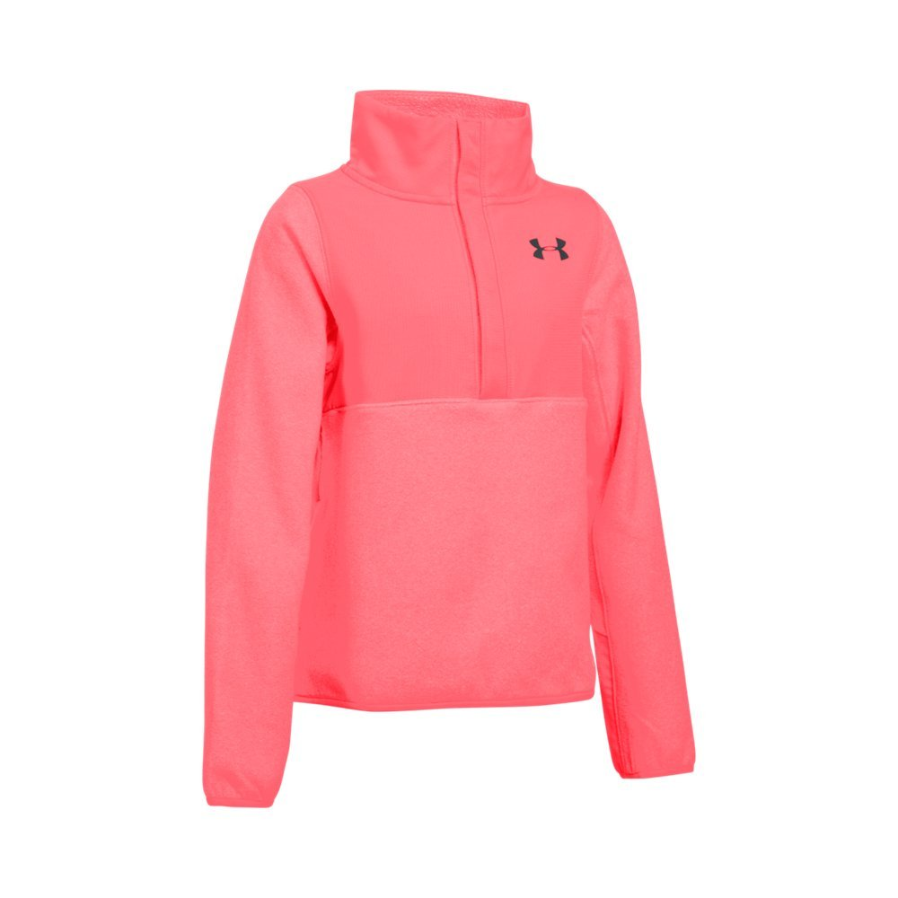 Under Armour Girls' ColdGear Infrared Survivor Fleece Half-Snap, Pink Chroma (806)/Black, Youth X-Small