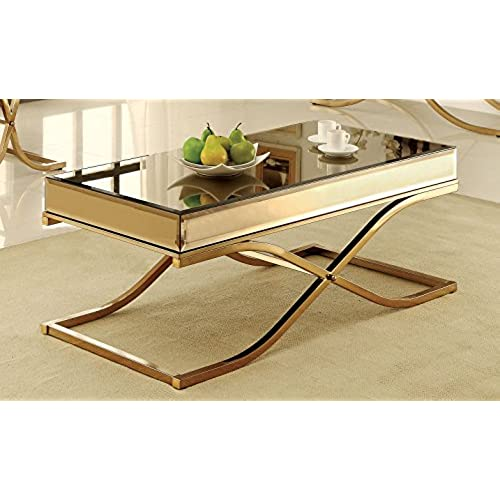 Merveilleux Furniture Of America Dorelle Contemporary Glass Top Coffee Table, Brass