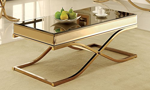 Furniture of America IDF-4230C Dorelle Contemporary Glass Top Coffee Table ()