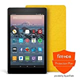 Fire HD 8 Protection Bundle with Fire HD 8 Tablet (16 GB, Black),  Amazon Cover (Canary Yellow),  Protection Plan (1-Year)