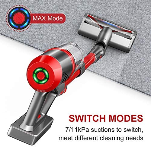 ONSON Cordless Vacuum, Cordless Vacuum Cleaner with Newly Upgraded V-Shape Brush, 4 in 1 Powerful Suction Stick Vacuum, Portable Lightweight Handheld Vacuum for Home Hard Floor Carpet Pet Hair