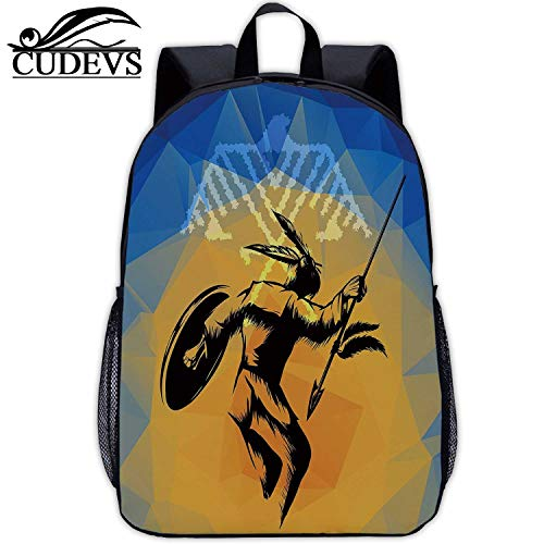 Native American,Print Bag,War Dance Ritual Against Ancient Totem Poly Effect Triangles Abstract,Mountaineering,17in12.2 Lx5.5 Wx17 H