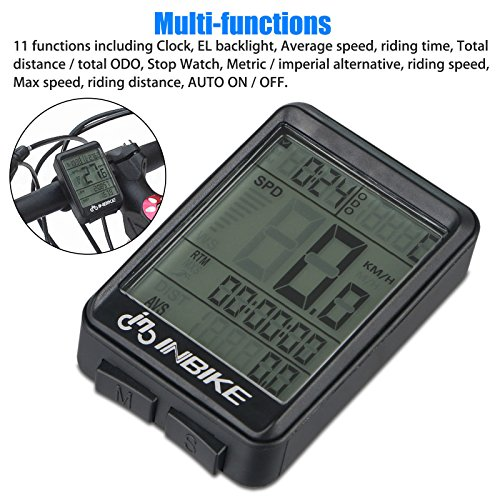 Waterproof Design 11 Function Day/Night Bicycle Computer LCD Backlight Multifunction Digital Sport Cycling Wireless Sensor Speedometer Fits All Bikes Easy Install and Operate BK141 by iGrove (Image #3)