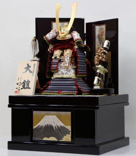 五分之一本仕立大鎧銀色縅(彫金龍虎二曲屏風彫金富士山畳付収納飾り) B00J1ZDF7A