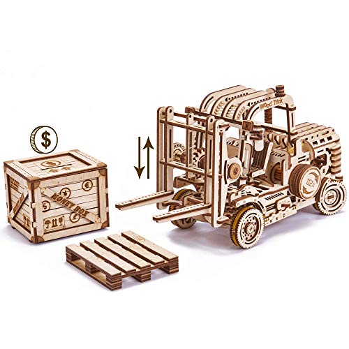 (Wood Trick Forklift Toy Set + Money Box, Forklift Truck with Pallet and Cargo - Friction Powered & Manual Lifting Control - 3D Wooden Puzzle, Brain Teaser - STEM Toys)