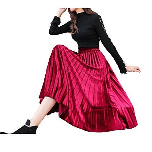 (Tifus Dress Women's Vintage Luster Elastic Waist Velvet A-line Pleated Midi Skirt, Wine Red, One Size)