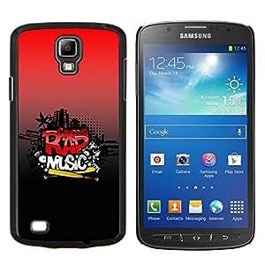 KLONGSHOP // Cubierta de piel con cierre a presión Shell trasero duro de goma Protección Caso - Música rap - Samsung Galaxy S4 Active i9295 //