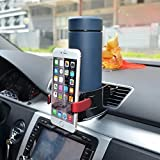 BESTEK Smart Drink & Phone Hard Clip-on Holder COMBO Air Conditioner Vent Mount Insert Soft Drink Beverage Water Coffee Cup Bottle with Adjust Size For Vehicle Automobile