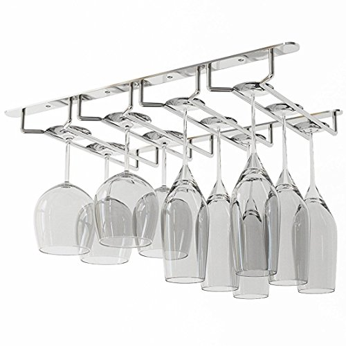WALLNITURE Under Cabinet Stemware Glass Rack Wine Glasses  Chrome Finish (Hutch And Bar)