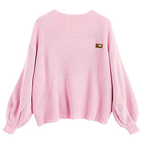 ZAFUL Women's Casual Loose Knitted Sweater Lantern Sleeve Crewneck Fashion Pullover Sweater Tops ()