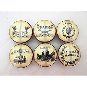 Set Of 6 Farm Fresh Eggs Oversized Cabinet Knobs (Blue Stripe)