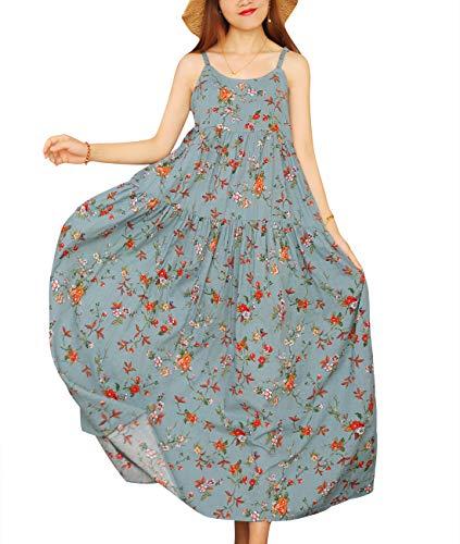 YESNO E00 Women Casual Loose Bohemian Floral Print Empire Waist Spaghetti Strap Long Maxi Summer Beach Swing Dress (5XL, As Picture14)