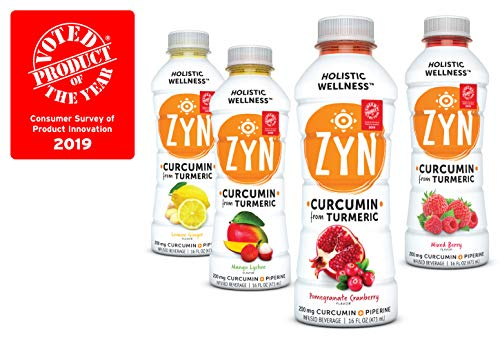 Wellness Beverage - ZYN - Holistic Wellness Health Drink CURCUMIN + PIPERINE 12 pack (Variety Pack) Low Sugar (2 grams/serving) - Anti Inflammatory - Low Calorie (10 calories/serving)